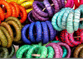 Colorful straw woven napkin rings close up — Stock fotografie