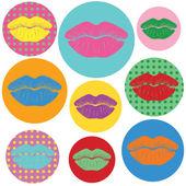 Retro lipstick traces set — Stock Vector