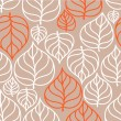 Doodle autumn leaves pattern — Stock Vector
