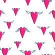 Seamless vector pattern with flying hearts — Imagen vectorial