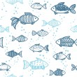 Vector seamless pattern with fish — Stock Vector