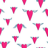 Seamless vector pattern with flying hearts — Stok Vektör