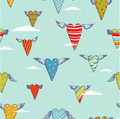 Seamless vector pattern with flying hearts — Vetorial Stock