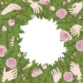 Květinové rámec pro pozdravy nebo pozvánky — Stock vektor