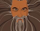 Een oude wijze man met doordringende blik — Stockvector