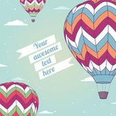 Retro card with hot air balloon — Stock Vector