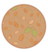 Vector pattern with almonds in a circle shape — Stock Vector