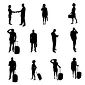 Silhouettes of businesspeople — Cтоковый вектор