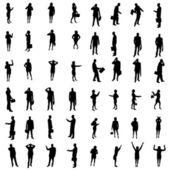 48 Silhouettes of people — Stock Vector