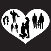 Vector illustration with family silhouettes. — Stock Vector
