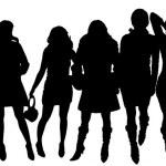 Vector silhouettes of women. — Stock Vector