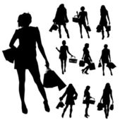 Vector silhouettes of women. — Stock Vector