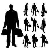 Vector silhouettes of men. — Stock Vector