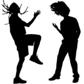 Vector silhouettes of dancing people. — Stock Vector