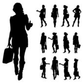 Vector silhouette of a businesswoman. — Stock Vector