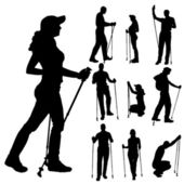 Vector silhouettes of people with walking bare. — Stock Vector