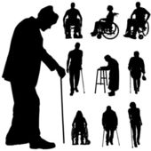 Vector silhouette of disabled people. — Stock Vector