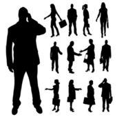 Silueta de vectores de gente de negocios. — Vector de stock