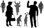 Vector silhouette of old people. — Stok Vektör