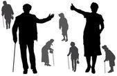 Vector silhouette of old people. — Vector de stock