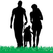一个家庭的向量轮廓. — 图库矢量图片