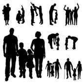 Vector silhouette of a family. — Vector de stock