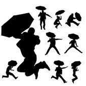 Vector silhouette of people. — Vecteur