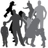 Silhueta de vetor de uma família. — Vetor de Stock