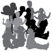 Vector silhouette of a children. — Stock Vector