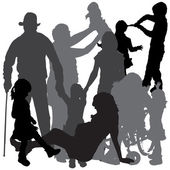 Vector silhouette of a family. — Vector de stock