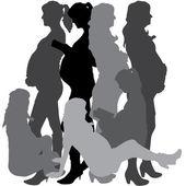 Vector silhouette of a pregnant. — Stock Vector