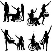 Vector silhouettes of people in a wheelchair. — Vector de stock