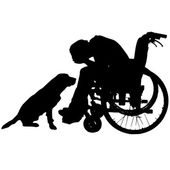 Vector silhouettes of people in a wheelchair. — Stock vektor
