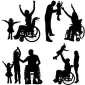 Vector silhouettes of people in a wheelchair. — Vecteur