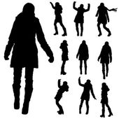 Vector silhouette of people in winter clothes. — Vecteur