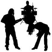 矢量的音乐家的剪影. — 图库矢量图片