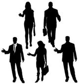 Vector silhouette of business people. — Vector de stock