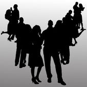 Vector silhouette of people. — Vettoriale Stock