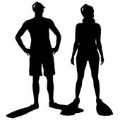 Vector silhouette of a people. — Stockvector