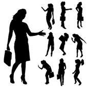 Vektorové siluety ženy. — Stock vektor