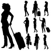Vector silhouettes of woman. — Stock Vector