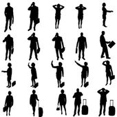 Vector silhouette of business people. — Stok Vektör