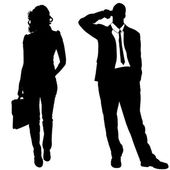 Vector silhouettes of business people. — Stockvektor