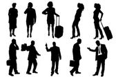 Vector silhouettes of business people. — Stok Vektör