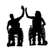 Vector silhouettes of people in a wheelchair. — ストックベクタ