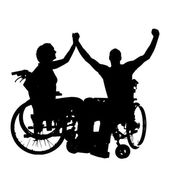 Vector silhouettes of people in a wheelchair. — Stok Vektör