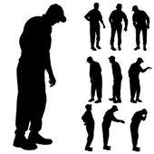 Vector silhouet van de oude mensen. — Stockvector