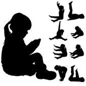 Vector silhouette of little girl. — Wektor stockowy