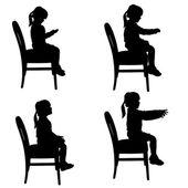 Vector silhouette of a little girl. — Stock Vector