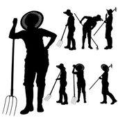 Vector silhouette of a gardener. — Stockvektor